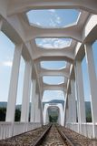 White concrete railway bridge. Stock Photos