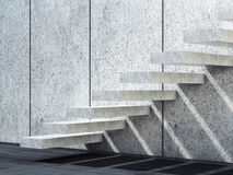 White concrete stairs. 3d render illustration. Abstract empty white interior background with concrete stairs. 3d render illustration Royalty Free Stock Image
