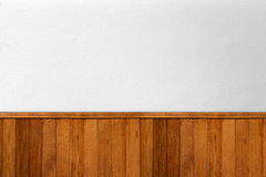 White concrete wall decoration with wood Stock Images