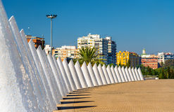 White cones of trencadis in Valencia, Spain. White cones of trencadis in Valencia - Spain Stock Image