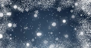White confetti, snowflakes and bokeh lights on the blue Christmas background. White confetti snowflakes and bokeh lights on the blue Merry Christmas background stock video