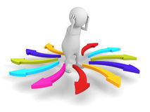 White Confused 3d Person Difficult Choice Arrows Direction. 3d Render Illustration stock image