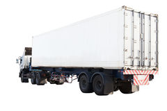 White container truck isolated background use for industry land Royalty Free Stock Photo