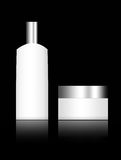 White containers. Over black background. chrome top Royalty Free Stock Image