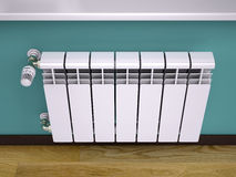White contemporary heating radiator Stock Images