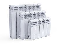 White contemporary heating radiators Stock Photography