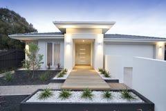 White contemporary house exterior. Facade and entry to a contemporary white rendered home in Australia Stock Photos