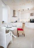 White contemporary kitchen interior Royalty Free Stock Photo