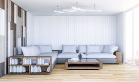 White contemporary living room interior with empty wall Stock Photo