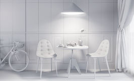White contemporary style interior, home dining room. Small table with plant, chairs and bicycle Stock Images