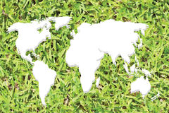 White Continental of World Map on Grass Royalty Free Stock Images