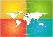 White continents on four color background. White world map highlighted on green, yellow,red,teal color striped background vector illustration