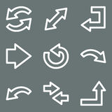 White contour arrows web icons Stock Photography
