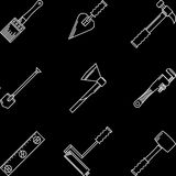 White contour icons for hand tools Royalty Free Stock Image