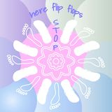 White contours of flip flops and footprint. Summer round white mandala. Soft blue and pink gradient liquid color forms background. royalty free illustration
