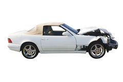 White convertible wreckage Royalty Free Stock Photos