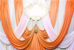 White and copper curtain backdrop background Royalty Free Stock Image
