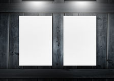 White copy space posters under spotlights Stock Photo