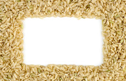 White copyspace surrounded by macro of whole brown rice grains Royalty Free Stock Photography