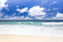 White coral sand and azure indian ocean. Royalty Free Stock Images