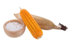 White Corn flour powder a popular food ingredient used in baking. And for thickening sauces or soups isolated on white background royalty free stock photo