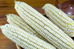 White corn in a vintage clay plate Royalty Free Stock Photography
