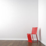 White corner room with red chair. Interior scene of clean white corner room with red chair copy space on the wall Royalty Free Stock Photos