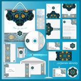 White corporate identity template with blue mosaic peacock elements. Vector company style Royalty Free Stock Image