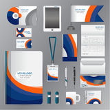White corporate identity template with blue Orange origami eleme Stock Photography
