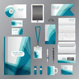 White corporate identity template with blue origami elements. Ve Royalty Free Stock Image