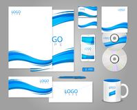 White corporate identity template with blue waves Royalty Free Stock Photo