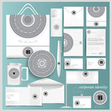 White corporate identity template with circle spirographic monogram elements Stock Photography