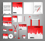 White corporate identity template design with red wavy spots. Bu Royalty Free Stock Photos