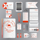 White corporate identity template with Orange origami elements. Stock Photography