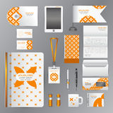 White corporate identity template with Orange origami elements. Stock Photo