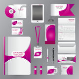 White corporate identity template with Purple origami elements. Royalty Free Stock Photo