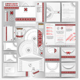 White corporate identity template with Ukrainian folk pattern. Vector company style for brandbook Royalty Free Stock Images