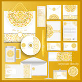 White corporate identity template with yellow mosaic elements Stock Images