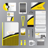 White corporate identity template with Yellow origami elements. Royalty Free Stock Image