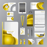 White corporate identity template with Yellow origami elements. Royalty Free Stock Photos