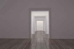 White corridor with open doors Royalty Free Stock Image