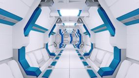 White Corridor of a spaceship with blue decor. sci-fi spacecraft 3d illustartions. stock illustration