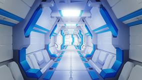 White Corridor of a spaceship with blue decor. sci-fi spacecraft 3d illustartions vector illustration