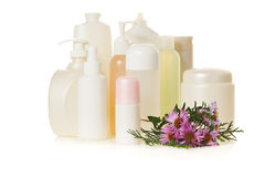 White cosmetic bottles Stock Images