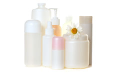 White cosmetic bottles Royalty Free Stock Photography