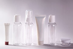 White cosmetic bottles on white background. Wellness, spa and body care bottles collection. Beauty treatment Stock Photo