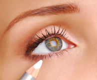 White Cosmetic pencil. Royalty Free Stock Image