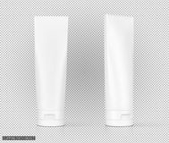 White cosmetic plastic tube on virtual transparency grid backgro Stock Images