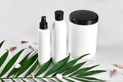 White cosmetic products and green leaf on white background. Natural beauty products for branding mock-up concept. Still life. Copy space royalty free stock photos