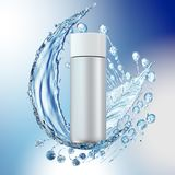 White cosmetic products with water splash on cyan background. Royalty Free Stock Images